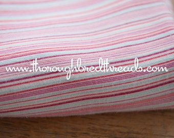 Sweet Thin Stripe- Vintage Fabric 60s New Old Stock Flannel Red Light Blue