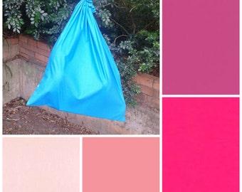 Extra large cotton drawstring bag, NEW colours, pink fuchsia for toys, books, kindergarten