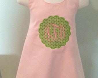 Monogrammed Pink Halter Dress