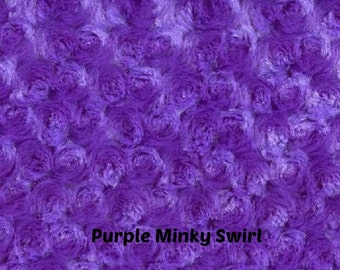 DESTACH - 1/2 yard - FAT HALF - Purple Minky Fabric - Minky Swirl - Rose Bud Minky fabric by the yard