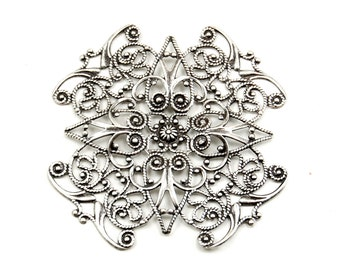 Extra Large Art Deco  Art Nouveau Antiqued Silver Plated Brass Filigree Embellishment / Bead Wrapper in X Shape or Maltese Cross