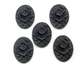 5 Pieces - Gothic Lolita 18x25mm Raised Rose Cameos / Cabochons in Solid Black