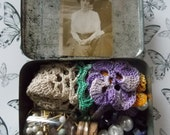 Vintage Inspiration Tin/Tiny Glass Jar/Beads/Mini Photo/Doily/Buttons