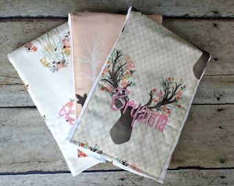 Monogrammed Burp Cloth, Baby Shower Gift, Personalized  Burp Cloths, Girl Burp Cloth, Deer, Baby Gift