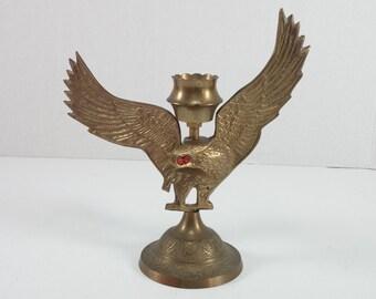 Vintage brass metal eagle candle holder metal eagle candle holder red eye eagle