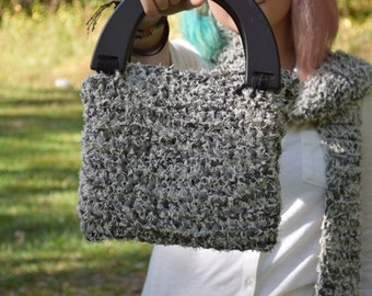 Black/white Jeany yarn purse