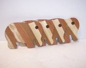 Wooden Elephant Coaster Set (4) Handcrafted from Mixed Hardwoods