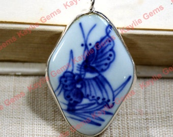 Sterling Silver Bezel Hand Painted Blue and White Butterfly Porcelain Pendant - 1 Piece ( only 5 available)