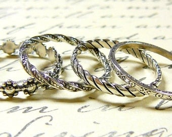 Beautiful Sterling Silver Pattern Stack Rings