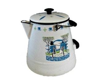 Enamel coffee pot -  Extra large camp style - Retro - Mid century graphics