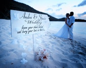 Leave your SHOES behind - Bury your TOES in the Sand - Beach Wedding Signs Decorations - 24x10 FREE Stake- Wedding Arrow Signs