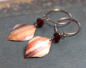 Colorful Copper Earrings Red Glass Bead Earrings Rustic Jewelry Metalwork