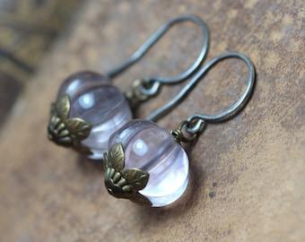 Fluorite Earrings ~ Lavender Purple Gemstone ~ Pumpkin Squash Bead Earrings ~ Rustic Jewelry