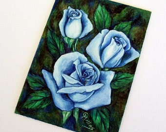 Blue Roses Art Original 5 x 7 Colored Pencil and Watercolor Art Unframed by AllKindsofArt