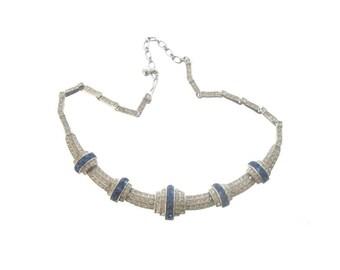 Sapphire Necklace, Vintage Bridal Jewelry, 1940s ORA Designer Jewelry, Rhinestone Wedding Jewellery