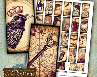 Gothic 1x2 Digital Collage Sheet Raven Digital Images for Jewelry Halloween Pendant Images Mixed Media Art Decoupage Paper Calico Collage