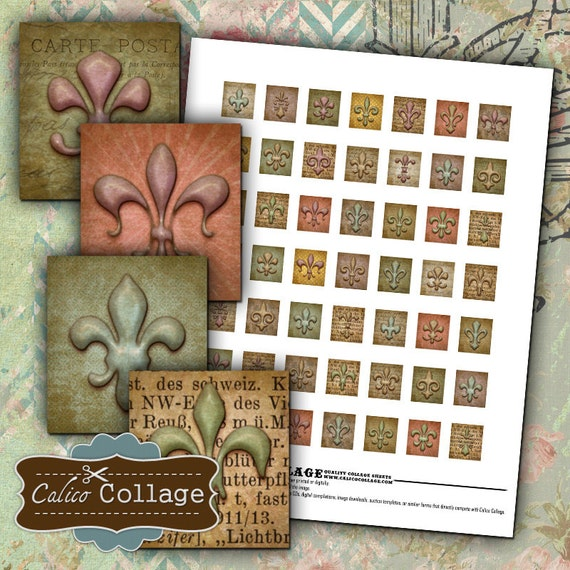 Fleur de Lis, Digital Collage Sheet, Scrabble Tile Size, Printable Download, Digital Sheet, Images for Pendants, Resin Jewelry