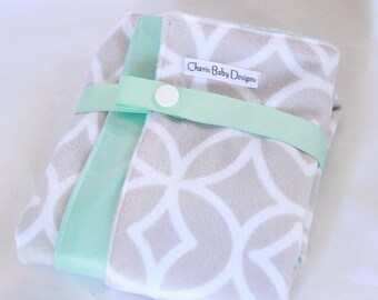 Diaper changing pad/ Waterproof/pul/ snapped/  held with a ribbon