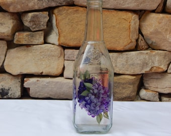 Hand Painted Decorative Square Glass Bottle with Purple Hydrangea