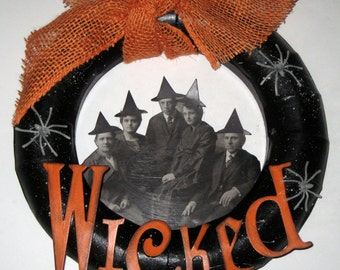 Halloween Wreath - Altered Art Style - Wicked -  Witches, Warlocks, Coven