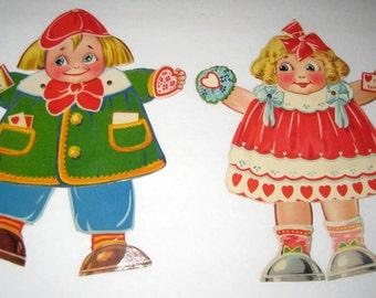 2 Vintage Large Mechanical Valentine Cards -  Girl and Boy Dolls with Google  Eyes