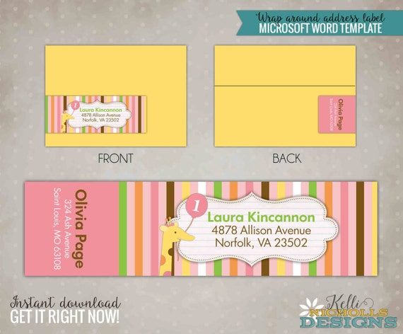 Printable Girl Sweet at One Wrap Around Return Address Labels, Custom Envelope Stickers, Instant Download, Template #B113-G