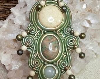 Olivine Polymer Clay Altar Shield Riverstone Agate Quartz Pearls