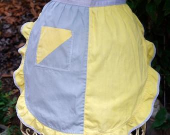 Vintage Half Apron Yellow and Gray
