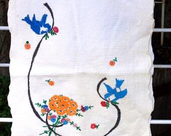 Hand Painted  Blue Bird Table Runner