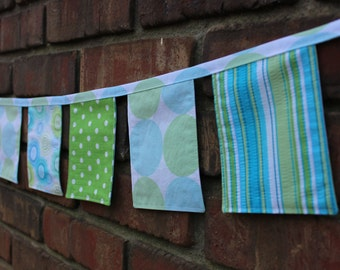 Fabric Banner Blue Green 6 ft Vintage Cloth Dots Stripes Circles Party Nursery Decor