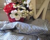 Vintage Gingham Check Seersucker Prairie Lane Blue and White drape/Curtain Panels