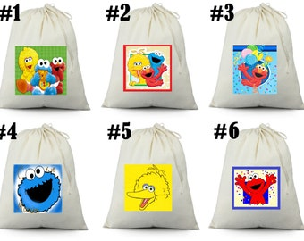 12 Elmo, Cookie Monster, Big Bird Birthday Party Favor Candy Loot Treat Drawstring Bags