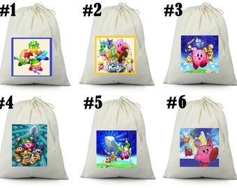 12  Kirby birthday party favor candy  loot treat drawstring bags
