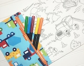 NEW - Color me wallet with washable markers - Color, wash, repeat  - Bright trucks