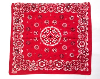 vintage red bandana / made in USA All Cotton Fast Color RN 13960 / 1960s bandana