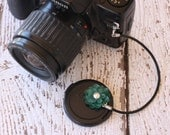 Camera Lens Cap Holder, Teal Flower