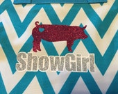 Show Girl Hanging Jewelry Holder - Chevron Glitter Monogram