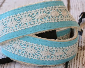 Camera Strap - dSLR Camera Strap - Turquoise Linen with Lace - Padded Camera Strap
