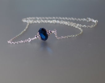 """Swarovski Crystal & Blue AB Grommet Jewelry - 18"""" Necklace - Silver Plated - Other Colors Available"""