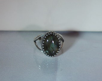 Silver & Gemstone Jewelry - Ring - Adjustable Size 6-8 - Shown with Labradorite Cabochon