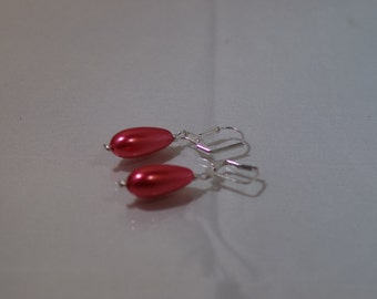 Pearl Bridal Earrings - MADE TO ORDER in Any Color - Glass Pearls - 1 Pr