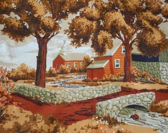 "Vintage Bark Cloth Fabric Country Landscape Farm River Stone Bridge Barkcloth 44"" by 80"" 2 Yards"