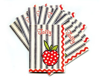 Vintage Bridge Tally Cards Paper Stationary Scrapbooking Craft Rick Rack Ticking Polka Dots Set of 8 Small Paper Art Folded Tallies