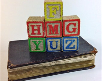Vintage wooden baby blocks letters 70's
