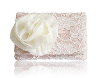 Blush ivory lace bridal wedding small clutch purse, bridesmaids gifts CHERISH