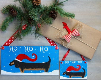 Dachshund Christmas Door Hanger and Ornament Set Long Hair Doxie