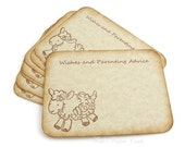 "Baby lamb wish cards Baby shower advice cards Neutral gender 4"" x 3"" set of 12"