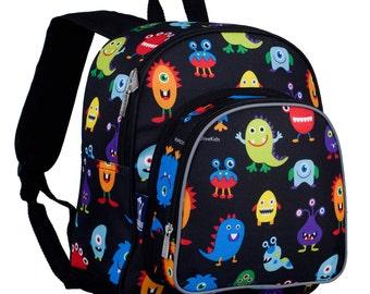 Monogrammed Child Backpack - Snack Pack - Monsters - Wildkin Preschool Day Pack Back to School