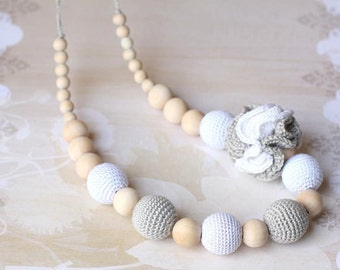 Nursing necklace - Teething necklace - teething toy - White - Gray necklace - Grey necklace - Breastfeeding necklace - Boho necklace - Boho