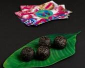 VALENTINE SALE Carobean: raw vegan energy balls with carobe, sesame and brazil nuts. Organic and no gluten or sugar